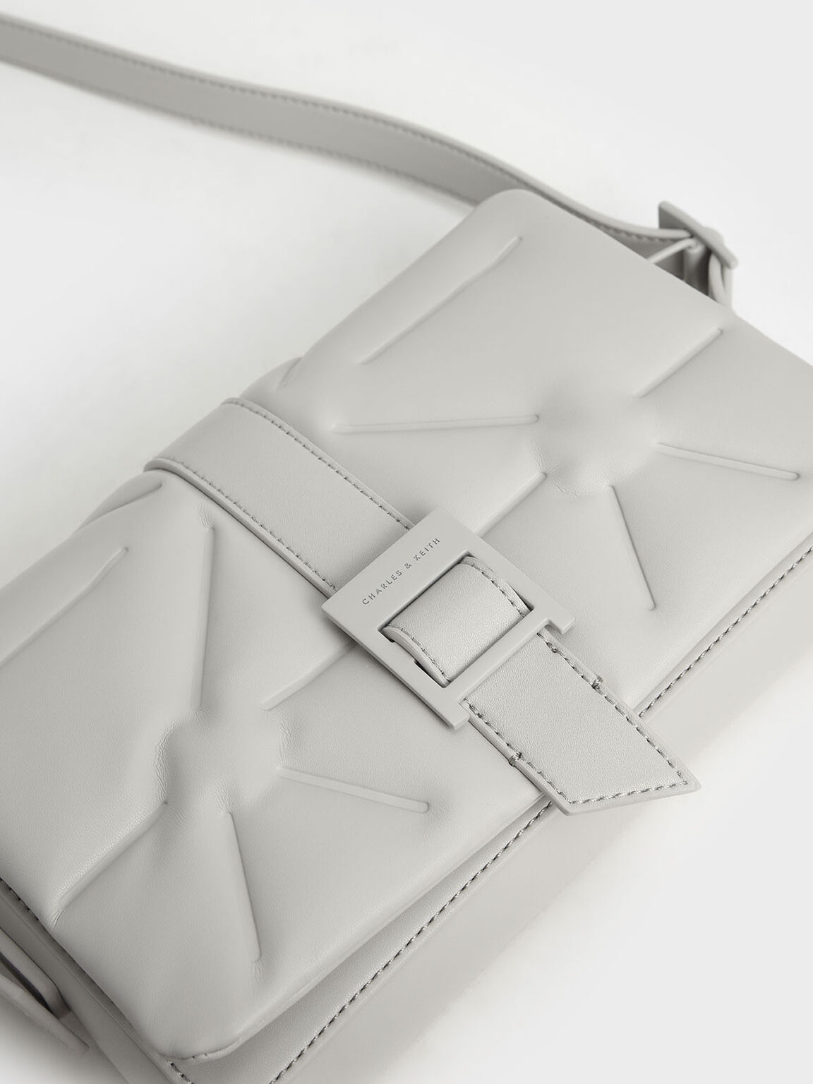 Quilted Shoulder Bag, Grey, hi-res