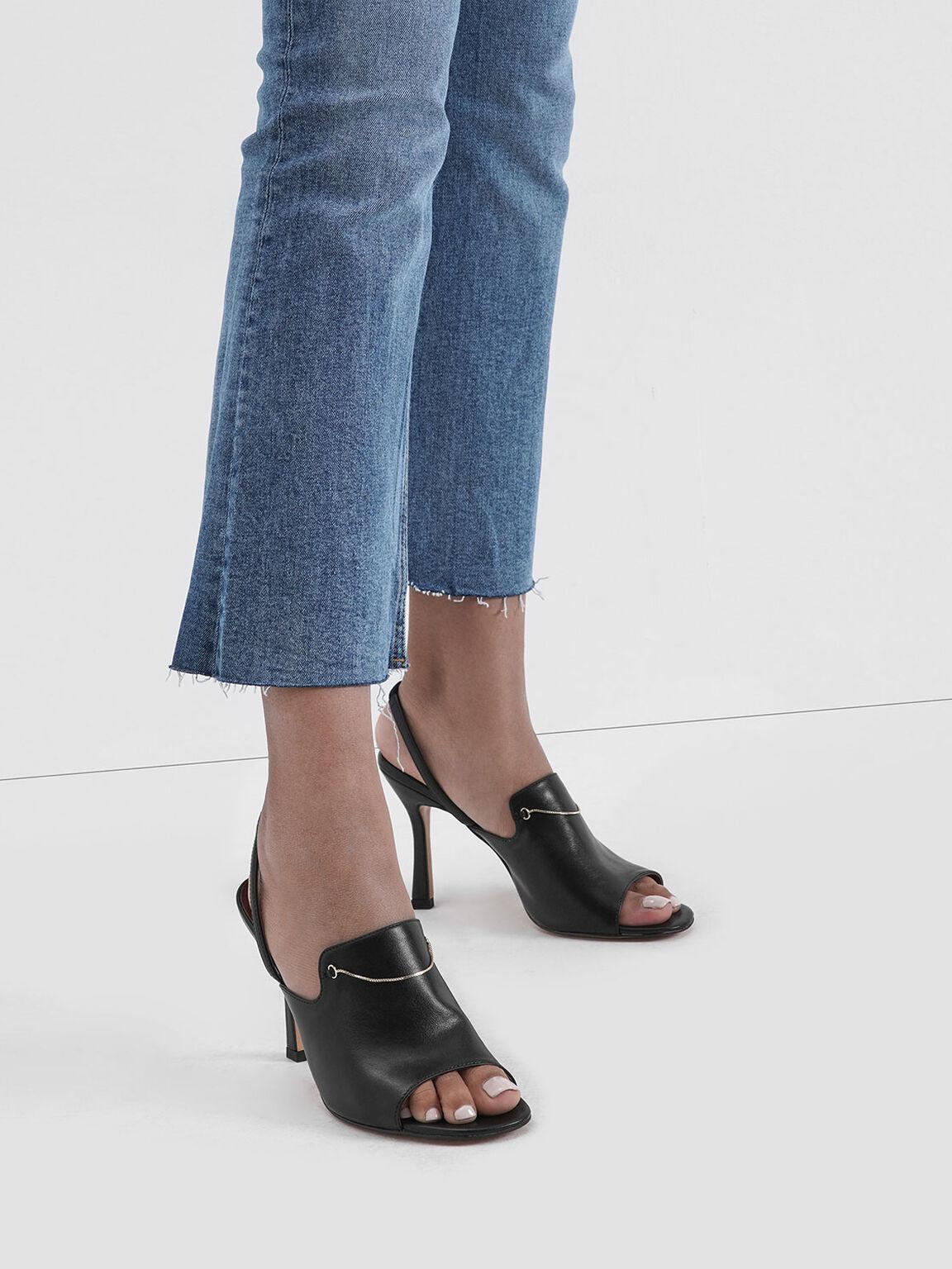 Chain Link Slingback Heels, Black, hi-res
