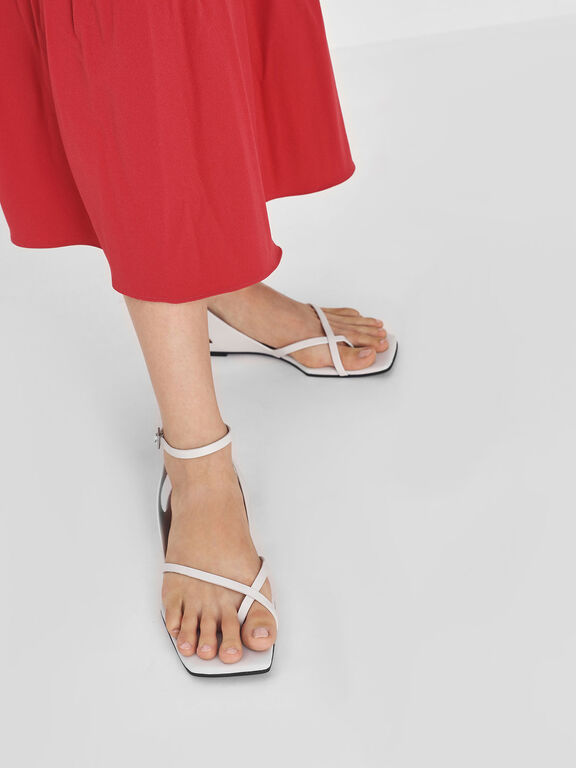 Ankle Wrap Toe Loop Sandals, White