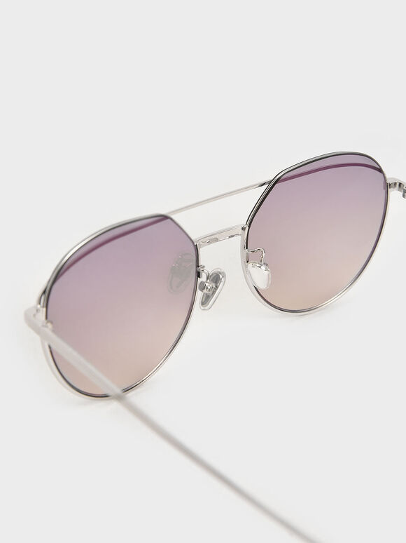 Double Bridge Wireframe Aviator Sunglasses, Silver, hi-res