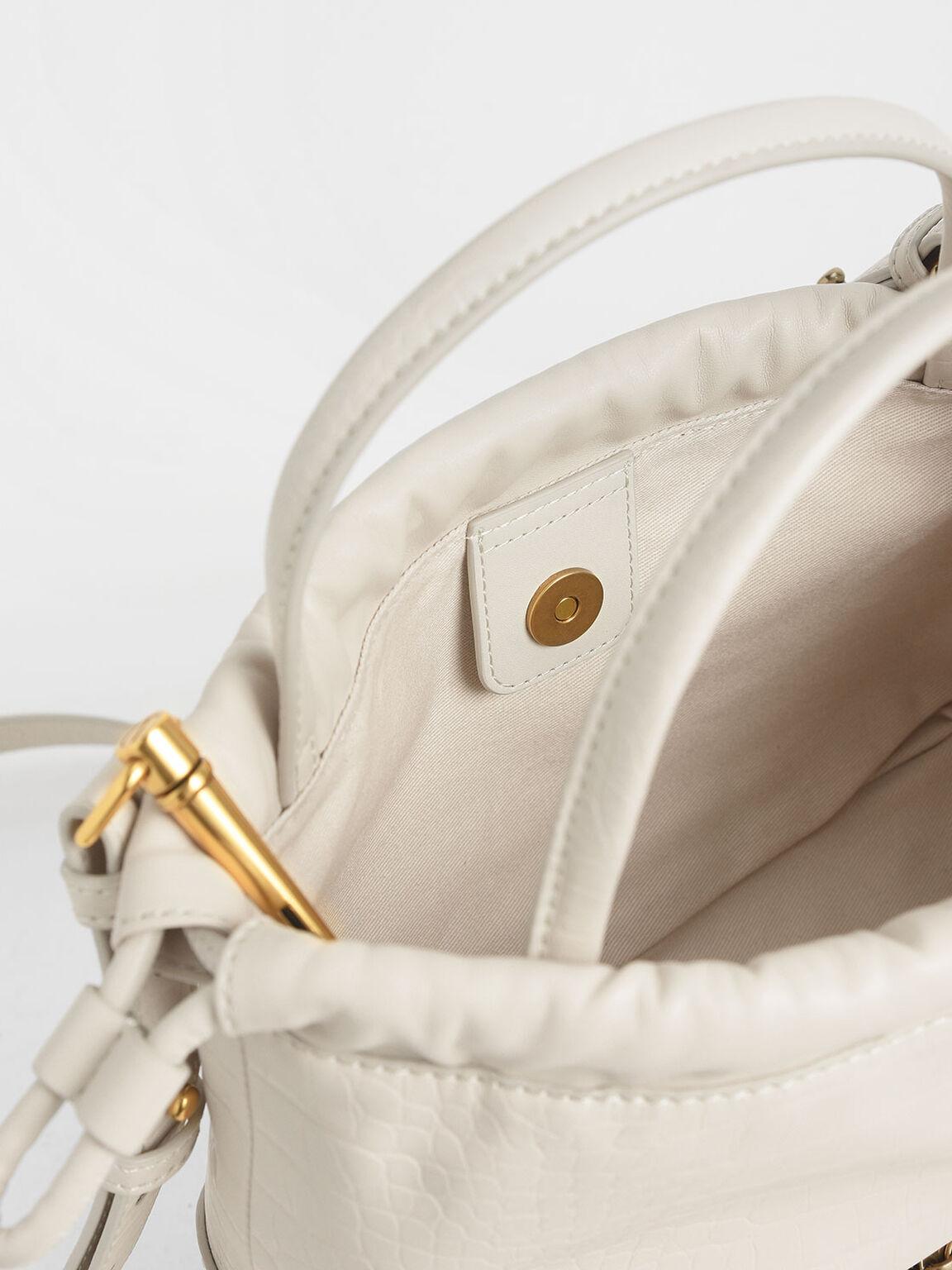 Croc-Effect Two-Way Zip Drawstring Bag, Cream, hi-res