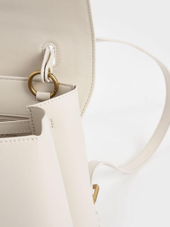 Stone-Embellished Backpack, Cream, hi-res