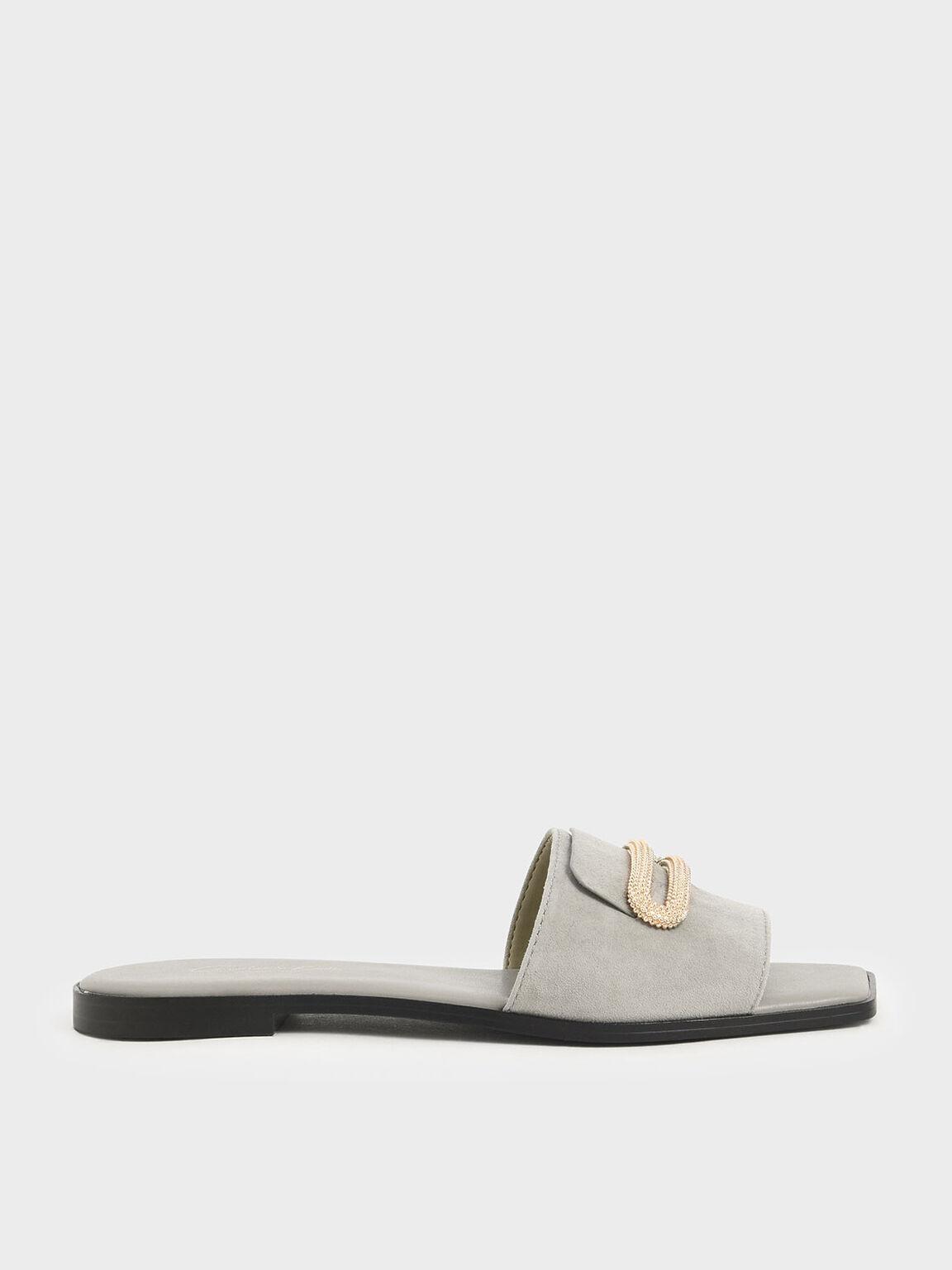 Metallic Accent Slide Sandals (Kid Suede), Sage Green, hi-res