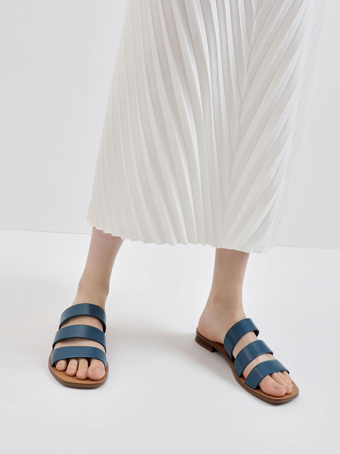 Tri-Strap Slide Sandals, Blue, hi-res