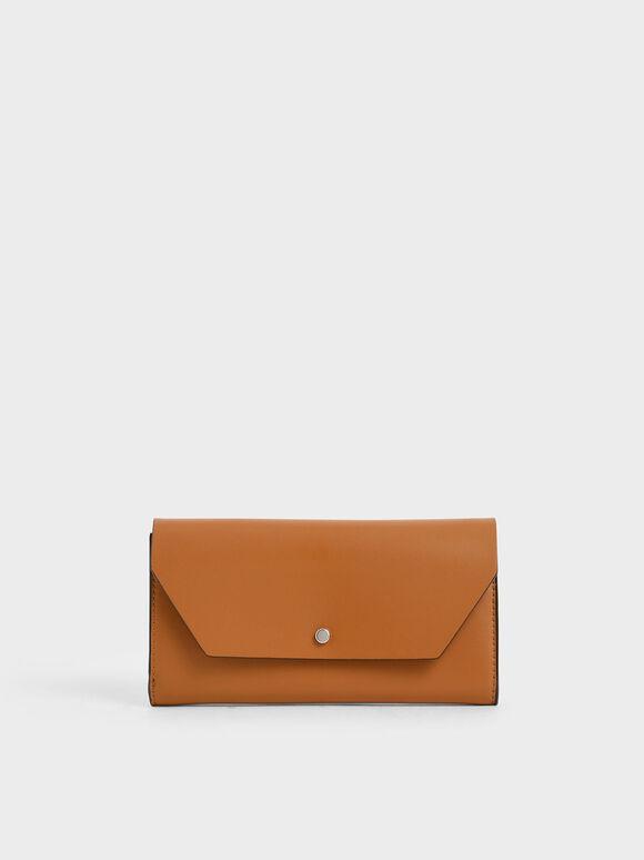 Reversible Front Flap Mini Long Wallet, Tan, hi-res