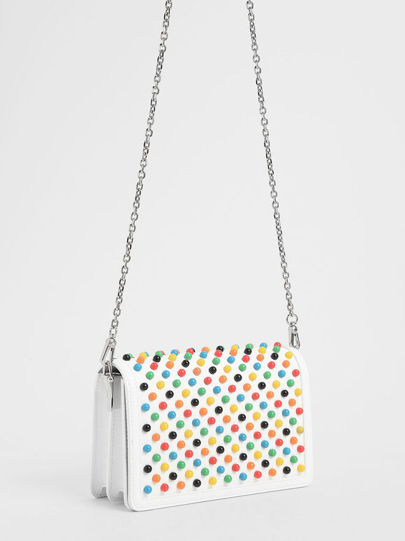 Studded Clutch, White, hi-res