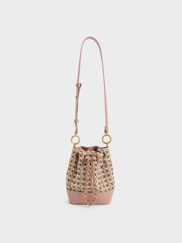 Chunky Chain Tweed Bucket Bag, Blush, hi-res