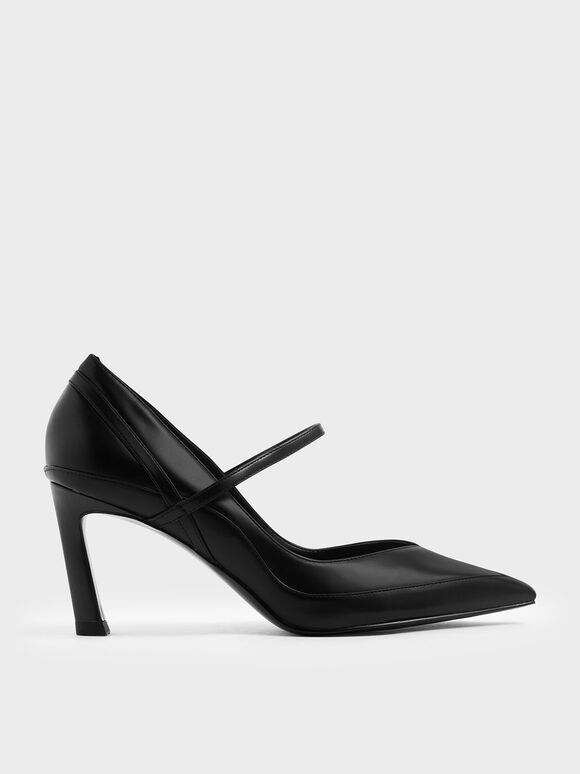 Pointed Toe Mary Jane Sculptural Heels, Black, hi-res