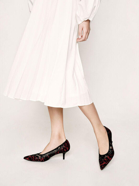 Lace Pointed Pumps, Red, hi-res