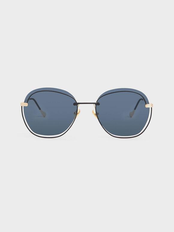 컷 아웃 버터플라이 선글라스, Dark Blue, hi-res