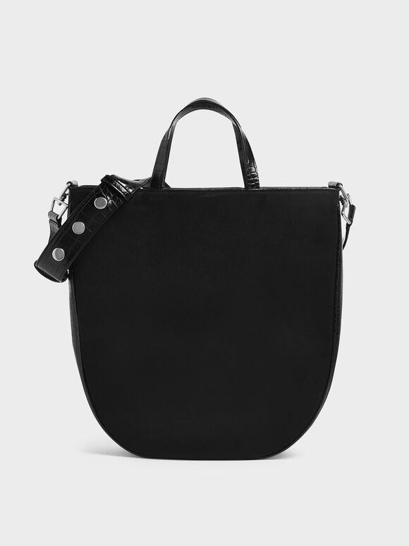 Textured U-Shaped Tote Bag, Black, hi-res