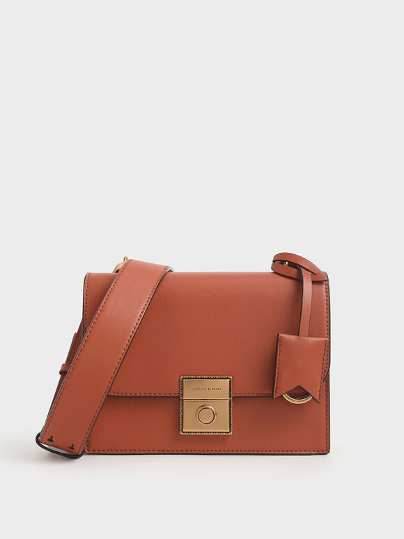 Boxy Push Lock Crossbody Bag, Cognac, hi-res