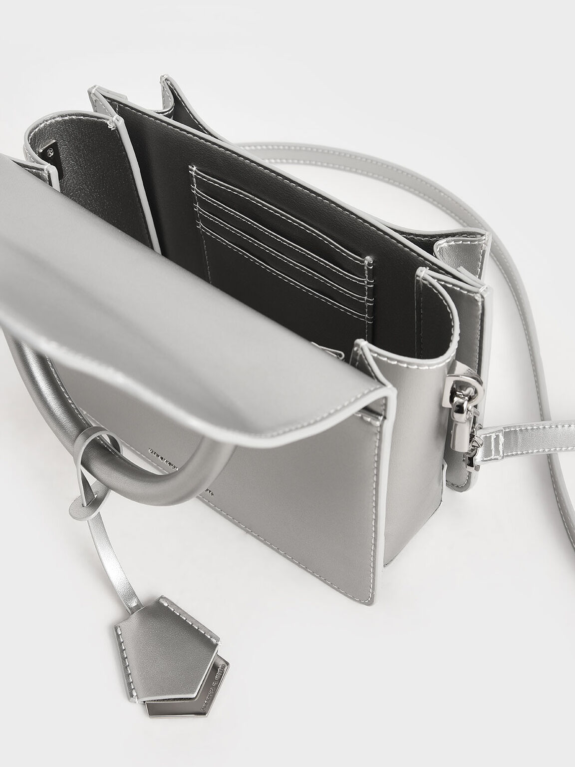 Metal Buckle Top Handle Bag, Silver, hi-res