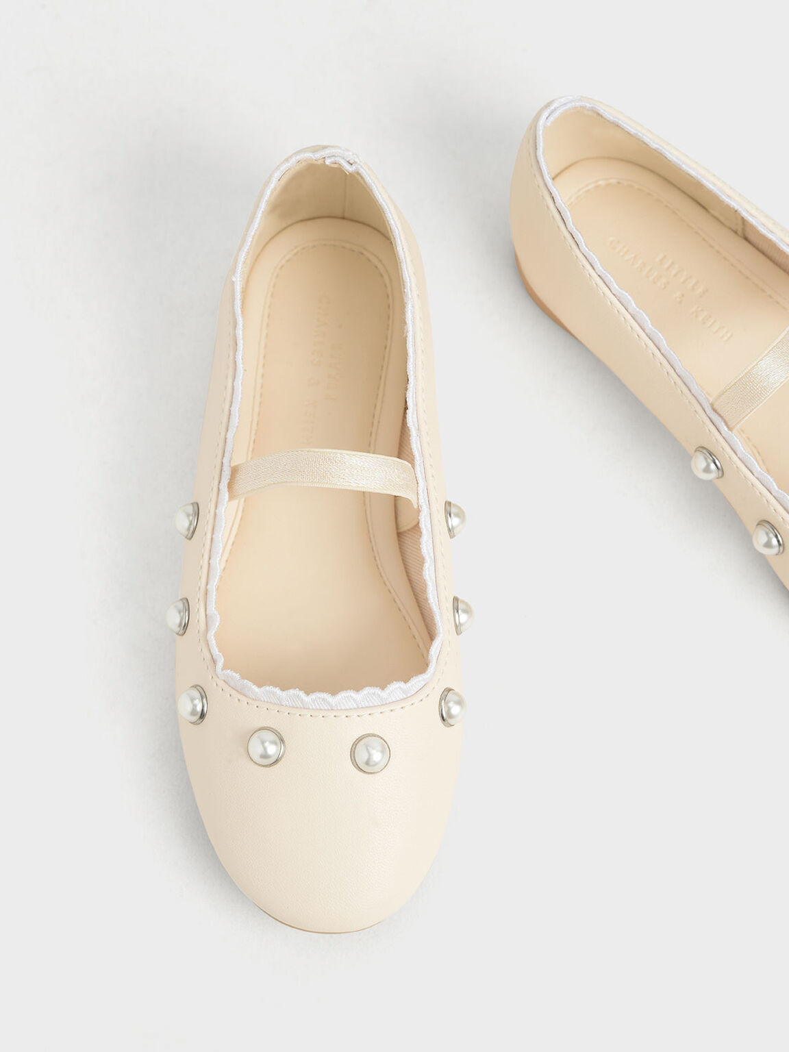 Girls' Studded Mary Jane Flats, Chalk, hi-res