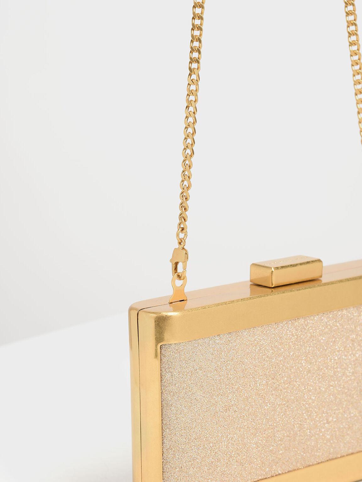 Glitter Acrylic Clutch, Rose Gold, hi-res