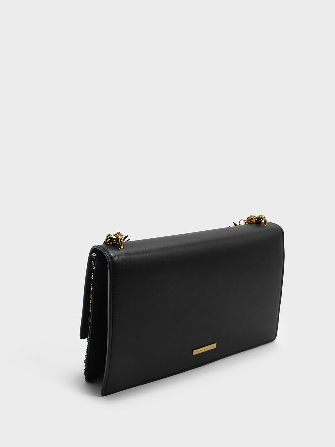 Embellished Front Flap Bag, Black, hi-res