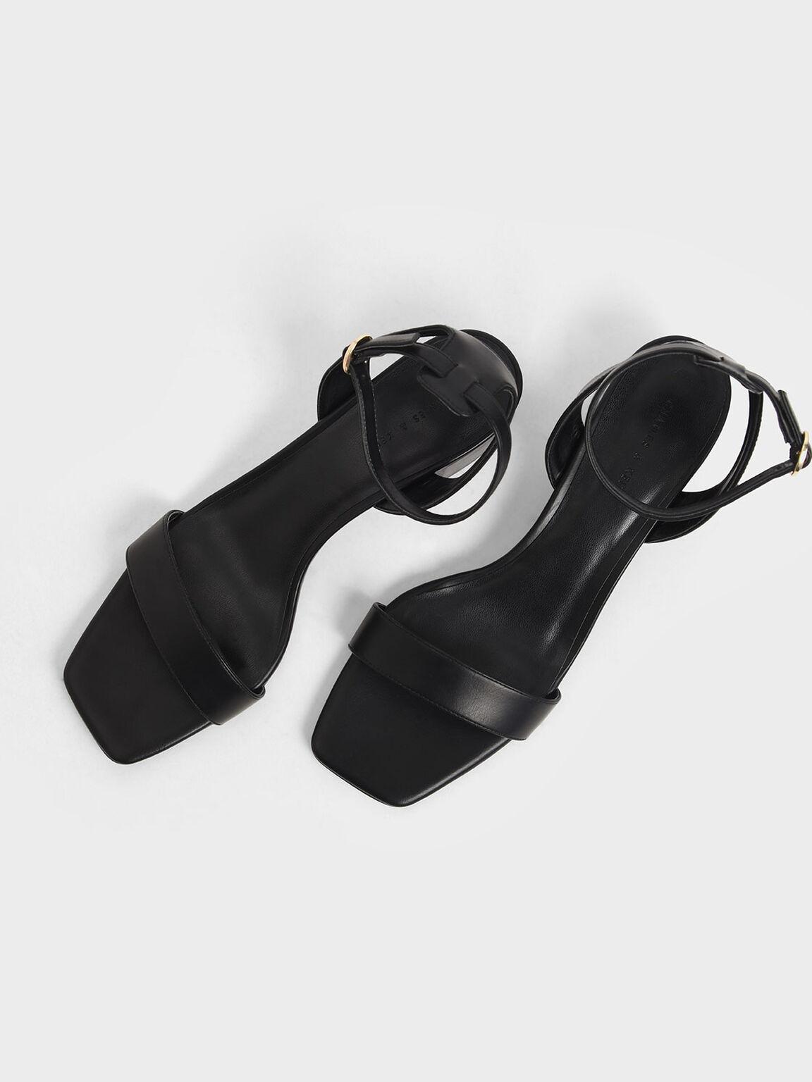 Square Toe Ankle Strap Block Heels, Black, hi-res