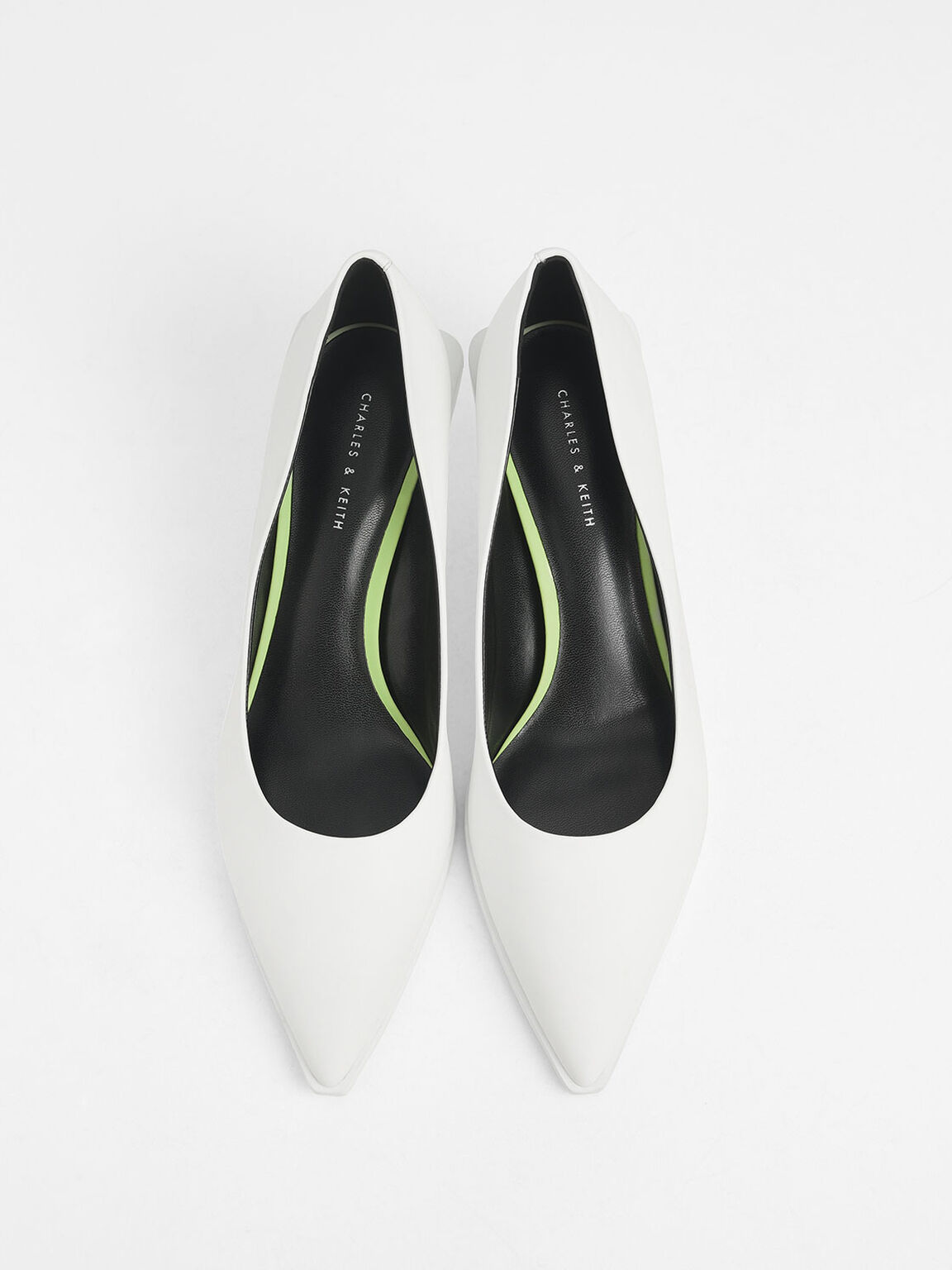 Pointed Toe Mini Heel Pumps, White, hi-res