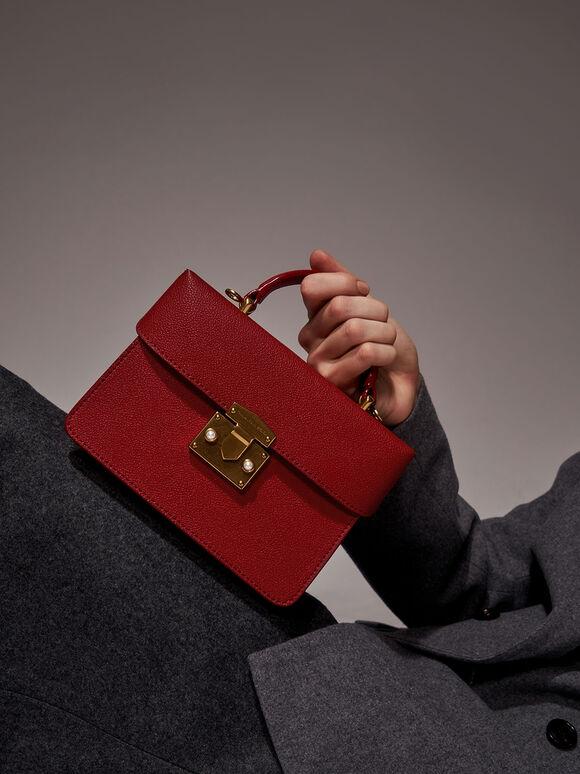 Metallic Push-Lock Boxy Bag, Red, hi-res