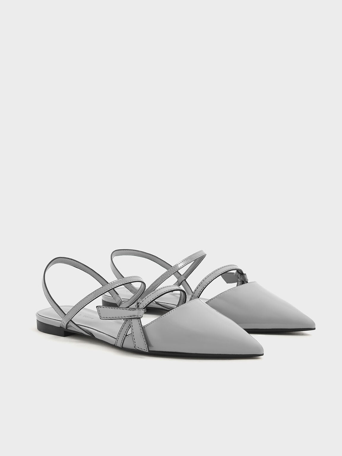 Front Knot Tie Patent Slingback Flats, Light Blue, hi-res