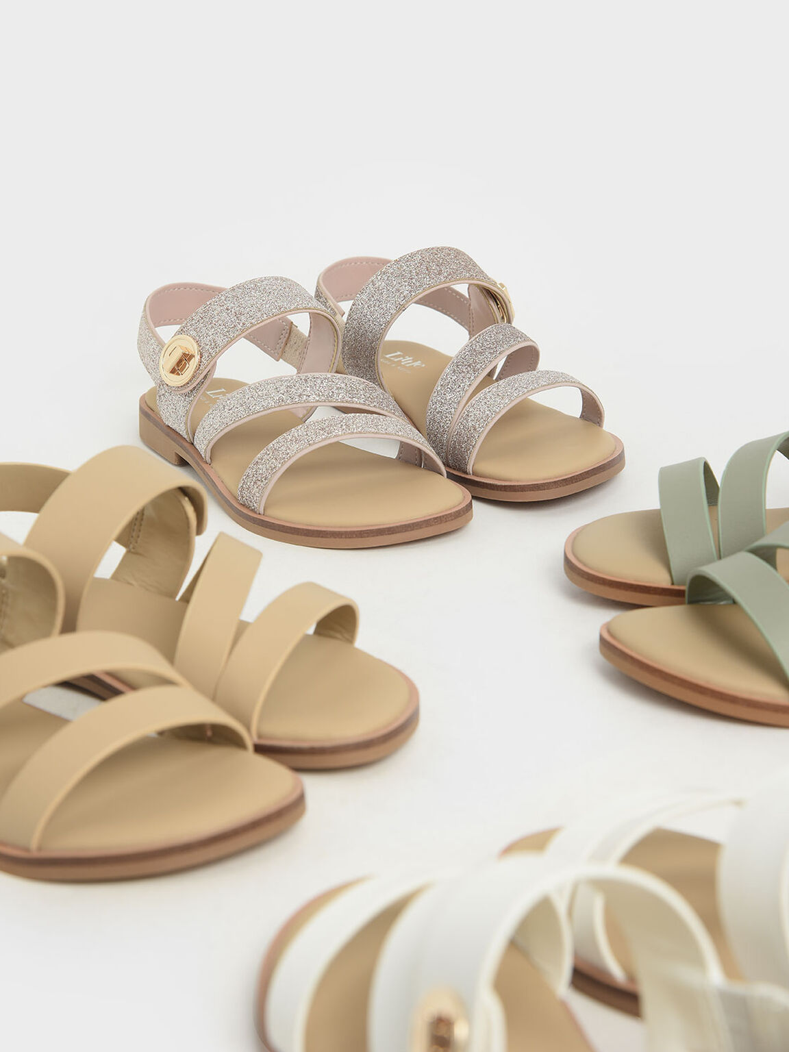 Girls' Metallic Buckle Sandals, White, hi-res
