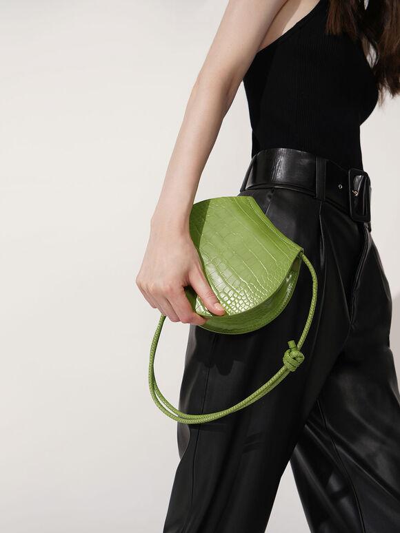 Semi Circle Croc-Effect Crossbody Bag, Green, hi-res