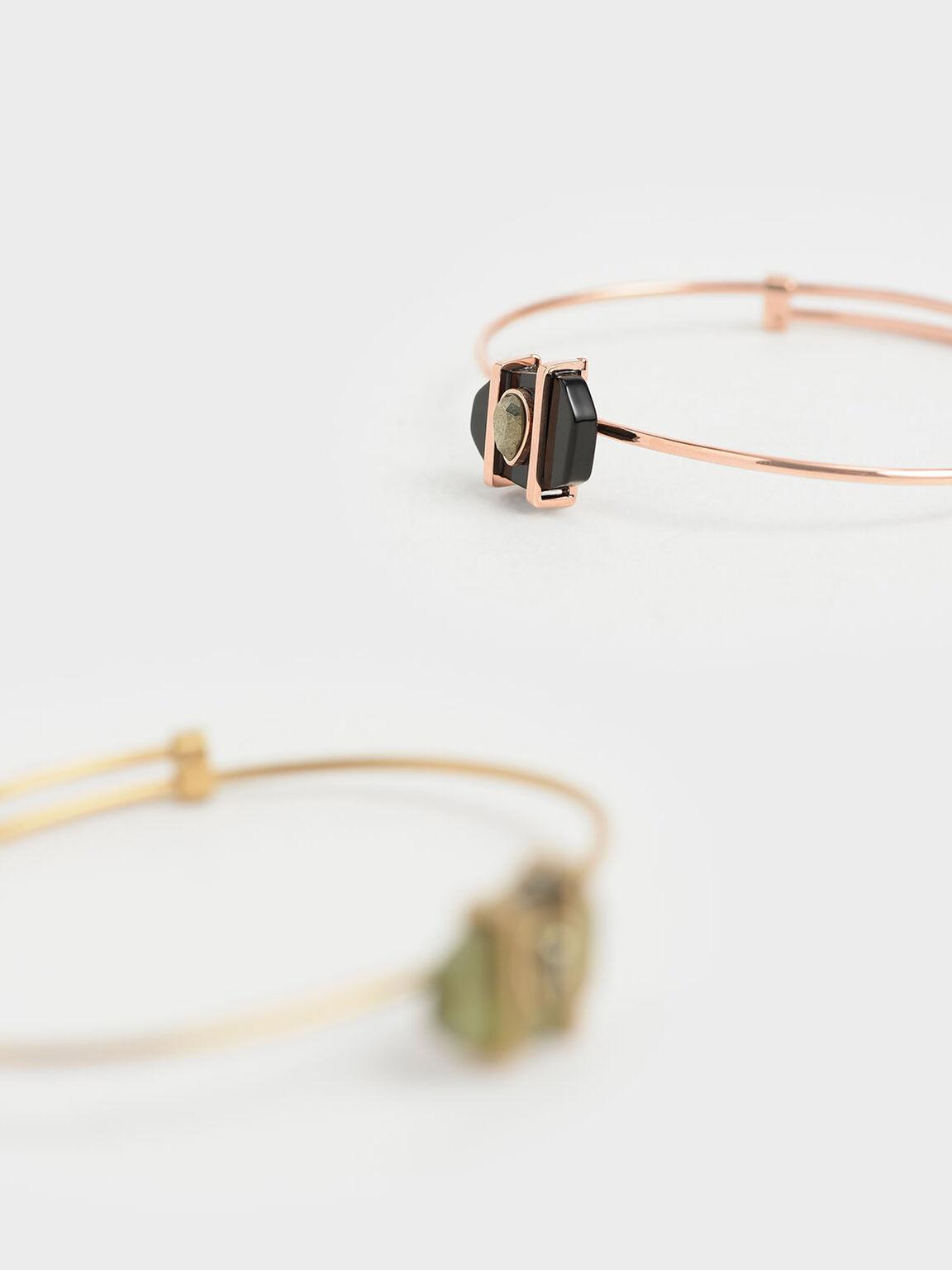 Onyx & Pyrite Gemstone Teardrop Cuff Bracelet, Black, hi-res