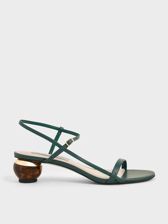 Sculptural Heel Ankle Strap Sandals, Green, hi-res
