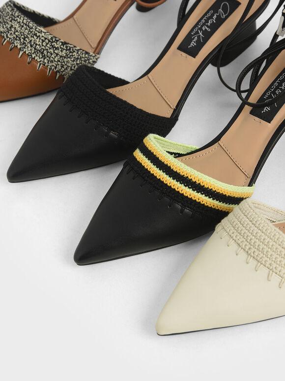 Leather Crochet Pumps, Brown, hi-res