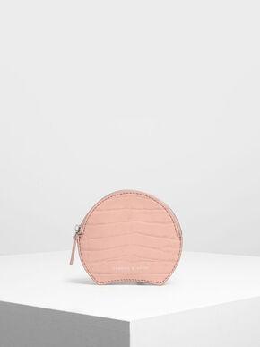 Semi Circle Croc-Effect Mini Pouch, Pink