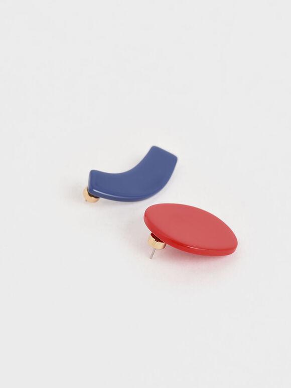 Mismatched Acetate Geometric Stud Earrings, Multi, hi-res