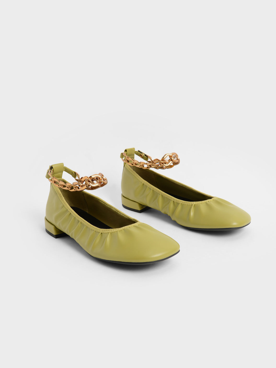 Chunky Chain Ankle Ballerina Flats, Moss, hi-res