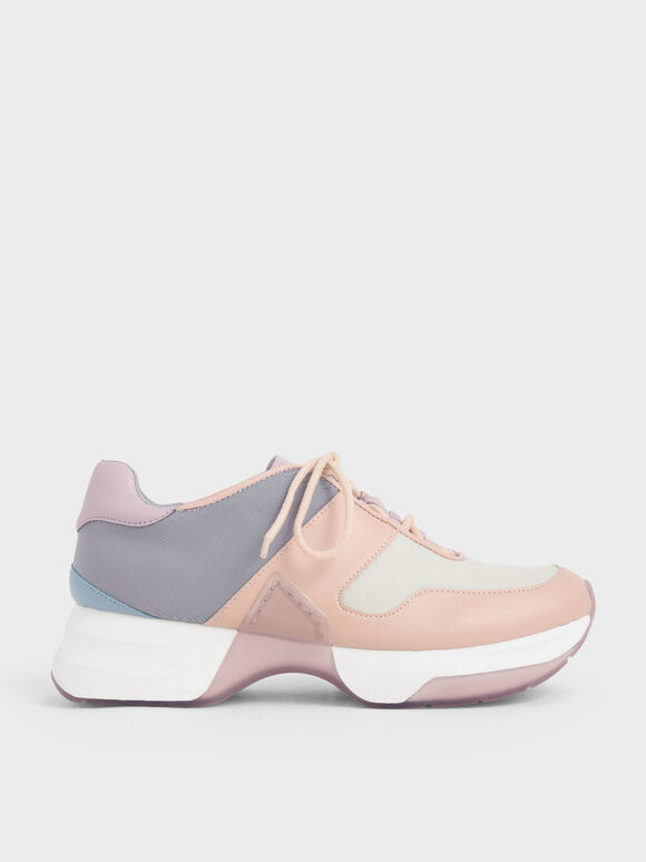 Textured Lace-Up Sneakers, Lilac, hi-res