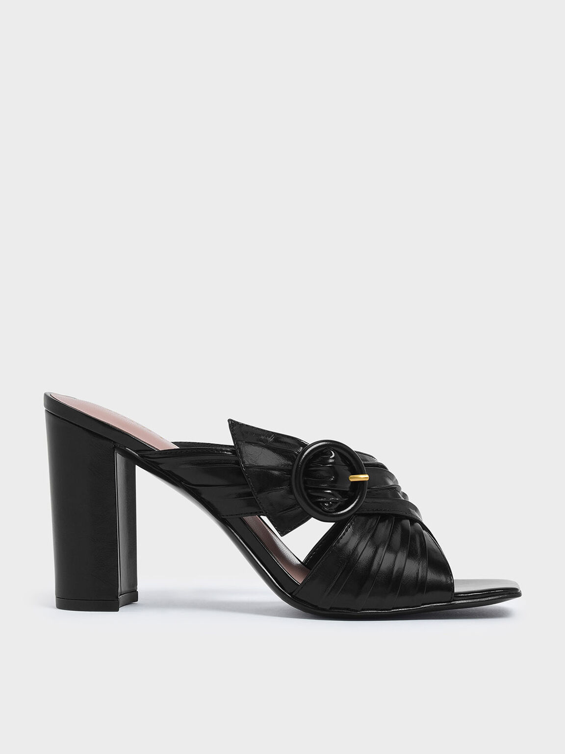 Criss Cross Pleated Buckle Strap Heeled Slide Sandals, Black, hi-res