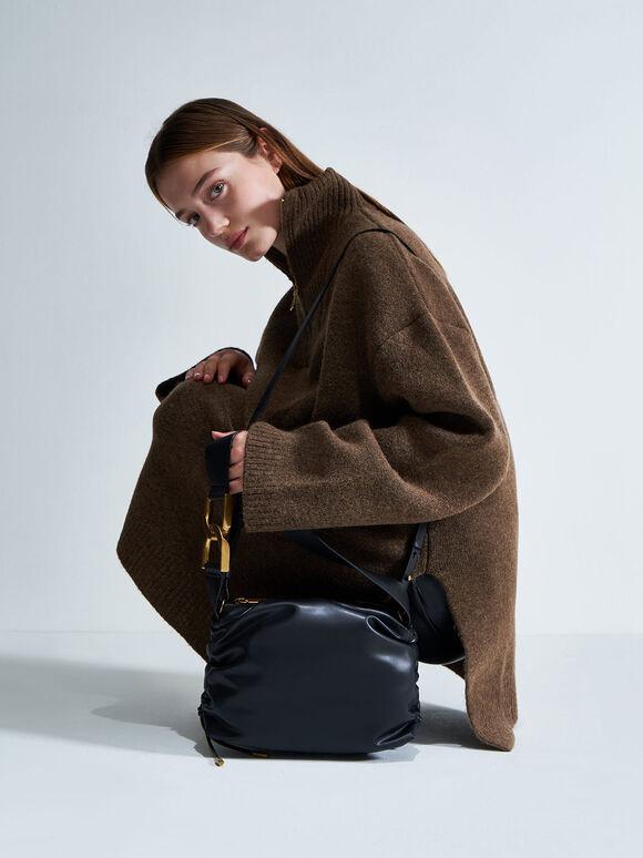 Ruched Hobo Bag, Black, hi-res