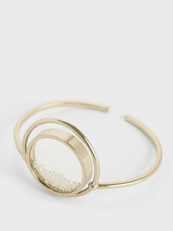 Pearl Finish Stone Floating Locket Cuff Bracelet, Pearl
