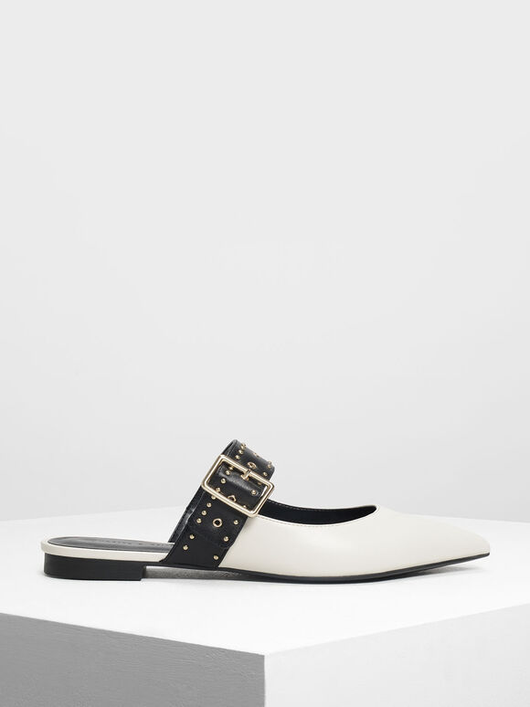 Studded Buckle Mules, Chalk, hi-res