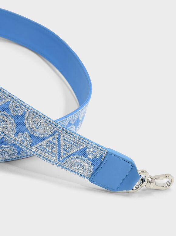 Printed Bag Strap, Blue, hi-res
