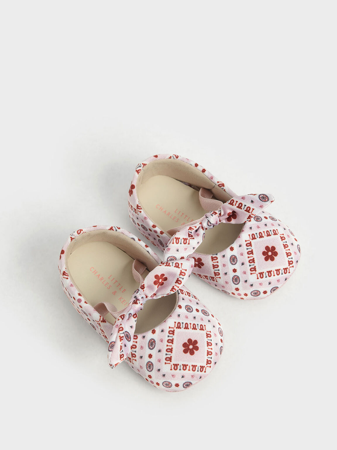 Purpose Collection - Baby Girls' Bandana Print Bow Ballerinas, Pink, hi-res