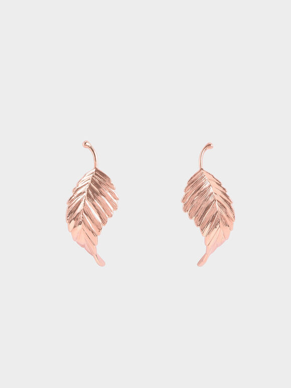Leaf Stud Earrings, Rose Gold, hi-res