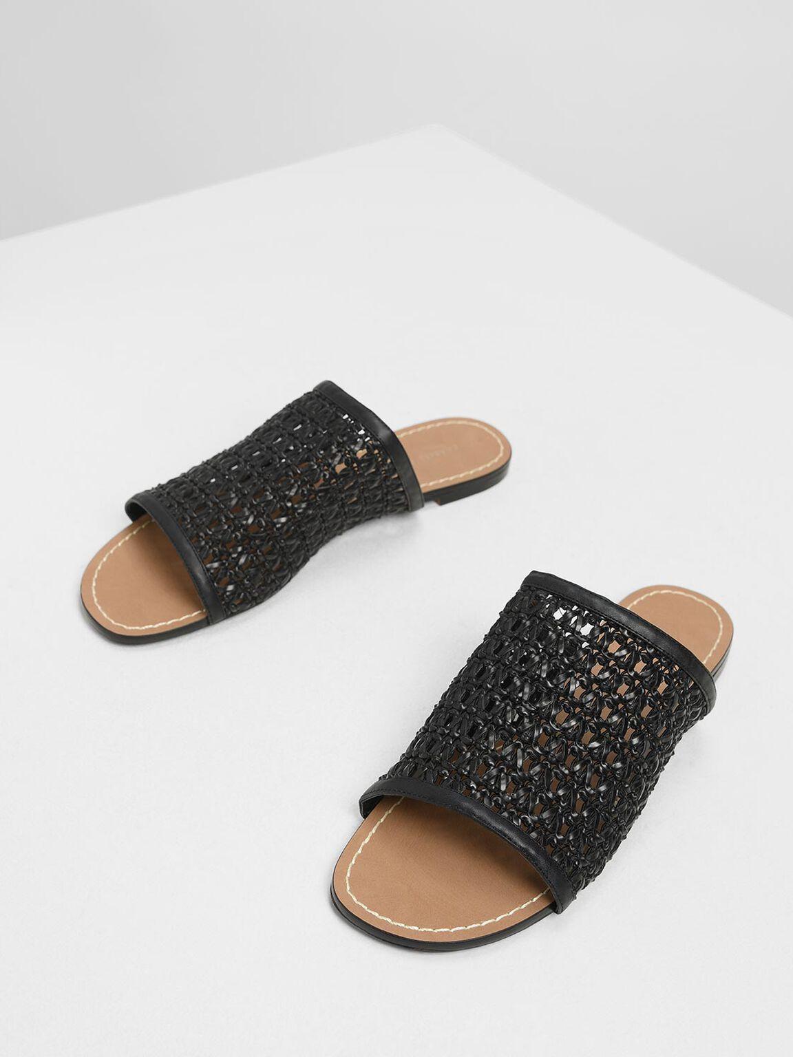 Woven Sliders, Black, hi-res