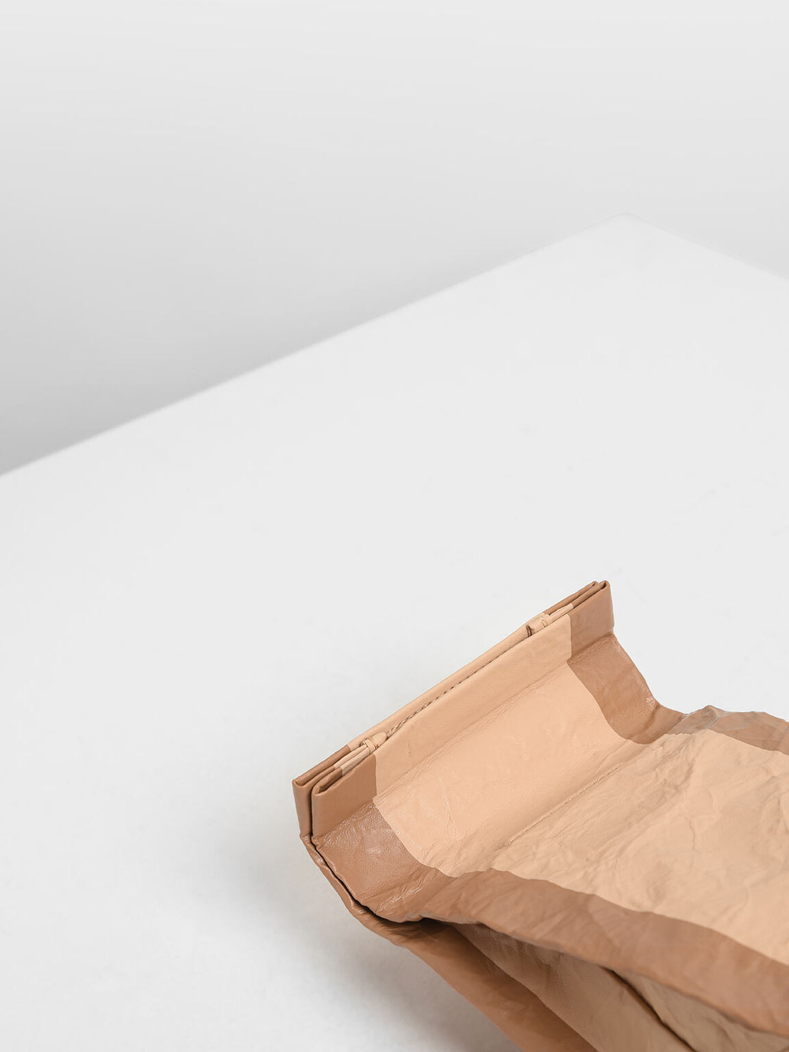 Paper Bag Clutch, Beige, hi-res