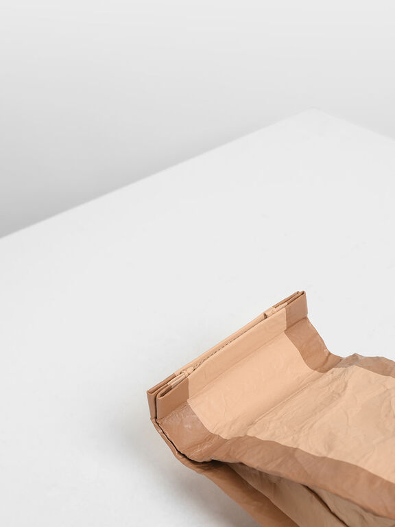 Paper Bag Clutch, Beige