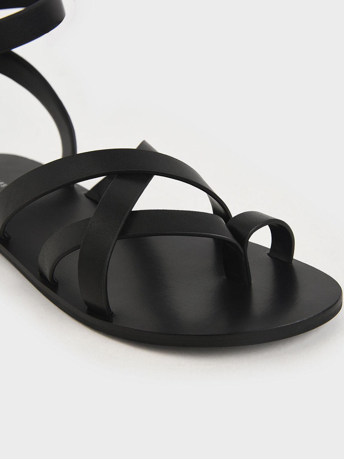 Toe Ring Strappy Sandals, Black, hi-res