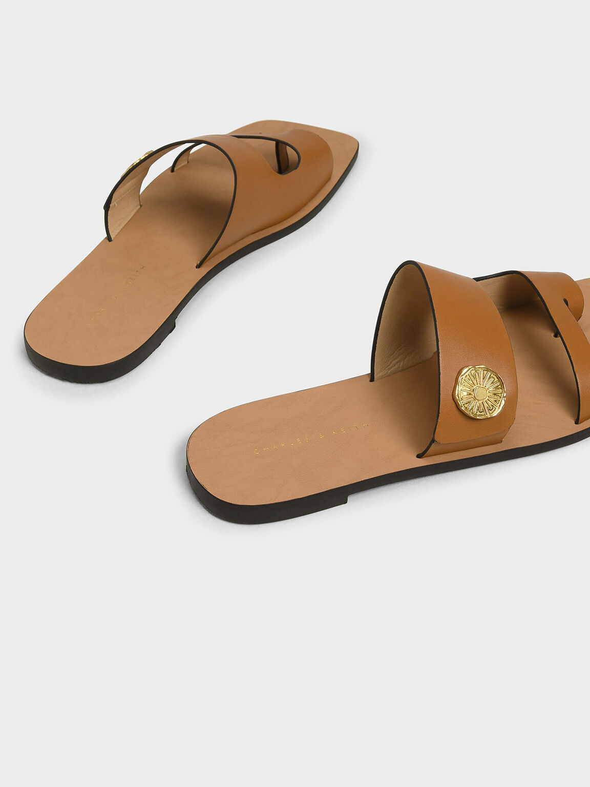 Gold Stud Detail Slide Sandals, Cognac, hi-res