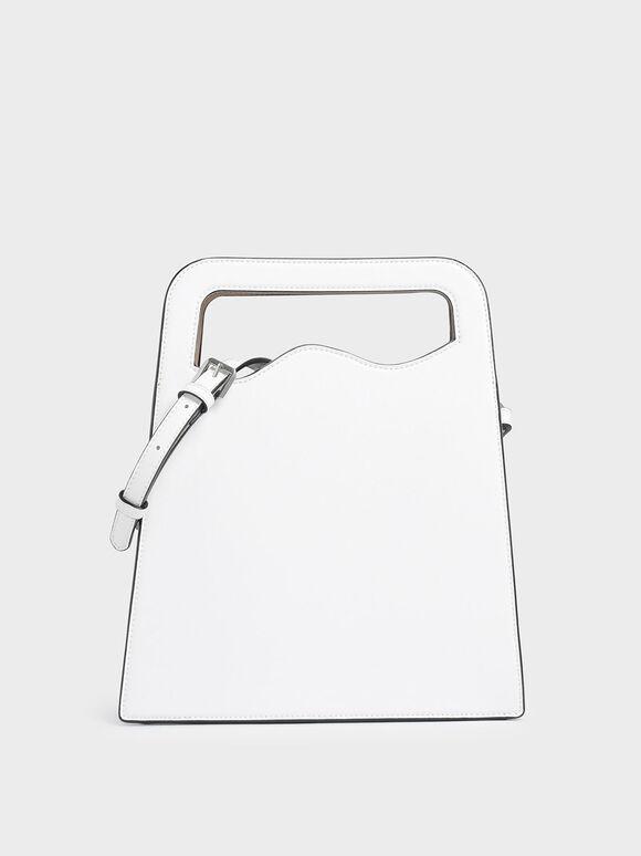 Asymmetric-Cut Top Handle Tote Bag, White, hi-res