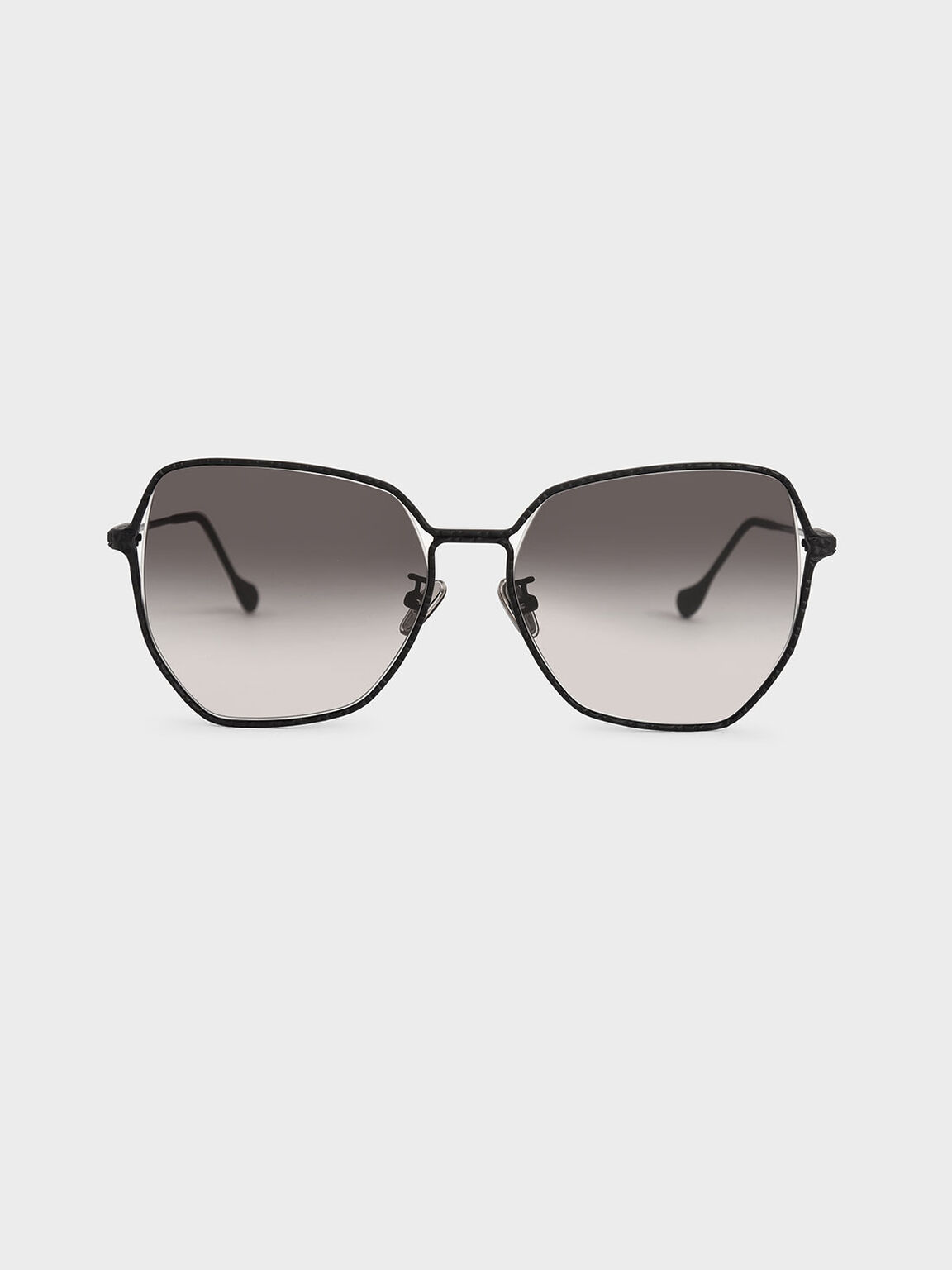 Metal Frame Butterfly Sunglasses, Black, hi-res