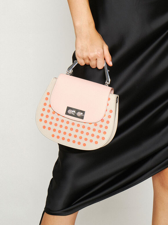 Geometric Top Handle Saddle Bag, Light Pink, hi-res