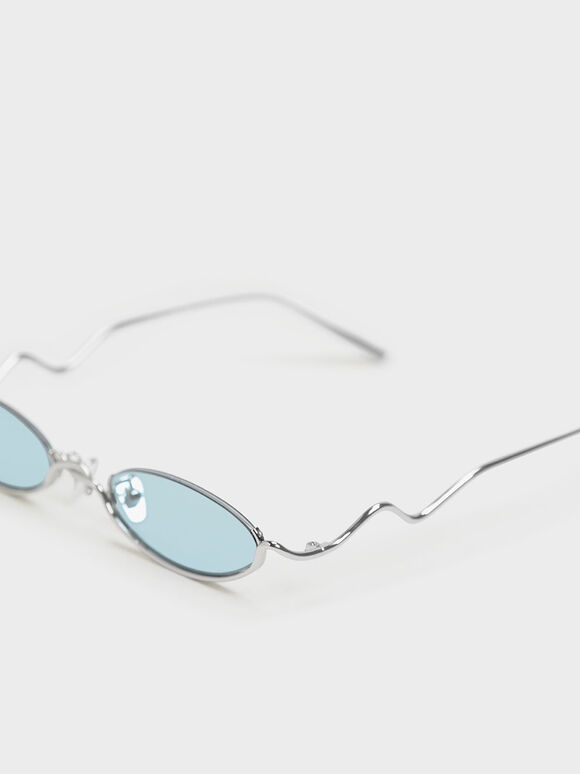Wire Frame Oval Sunglasses, Blue, hi-res
