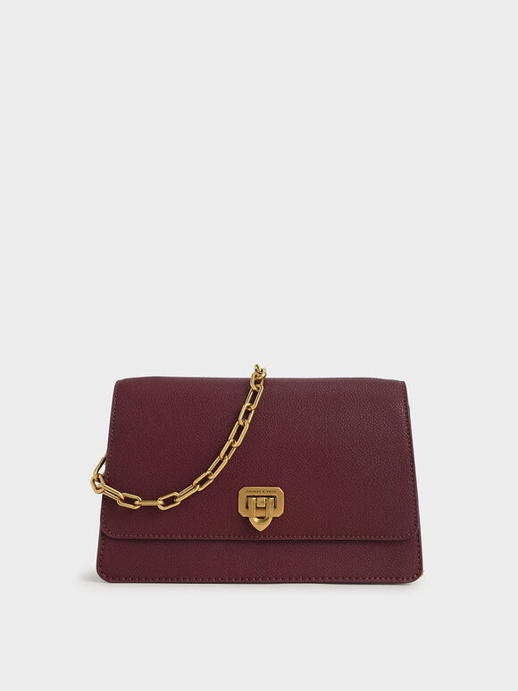 Double Chain Link Push-Lock Bag, Burgundy, hi-res